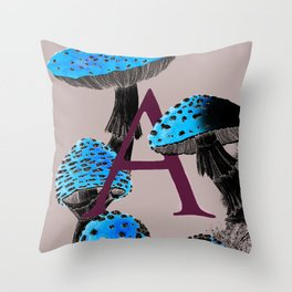 A is for Amanita muscaria Throw Pillow