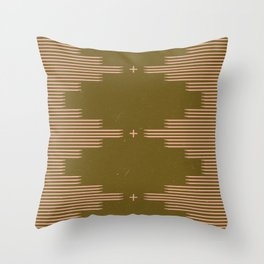 Southwestern Minimalist Retro Green & Pink Throw Pillow