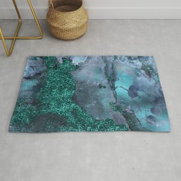 Malachite Glitter Stone and Ink Abstract Gem Glamour Marble Rug
