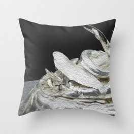 Silver black abstract art Throw Pillow