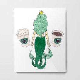 Mermaid Coffee Butt Light - Fast Food Butts Metal Print