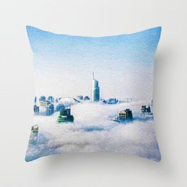 Dubai skyline topped in morning clouds landscape Throw Pillow