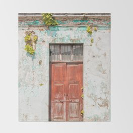 Old red door in Antigua, Guatemala Throw Blanket