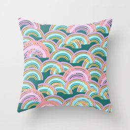 Rainbow pattern - pink and green Throw Pillow