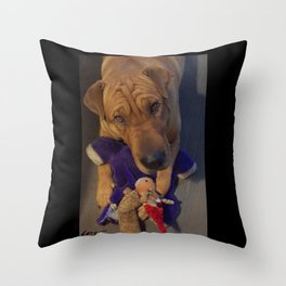 """""""Toys!"""" from the photo series""""My dog, PLaY-DoH"""" Throw Pillow"""