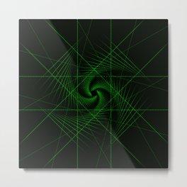 Green Matrix Laser Bright Lights Metal Print