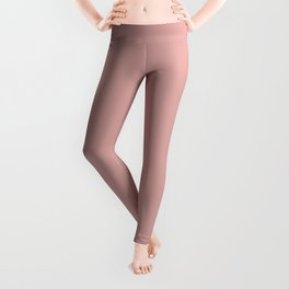 Rose Blush Pink D9A6A1 Solid Color Block Leggings