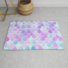 Cute Mermaid Art, Pink, Purple, Teal Rug