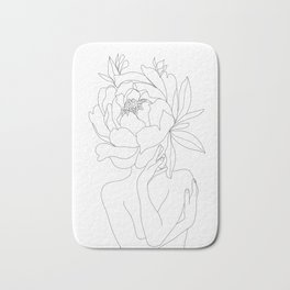 Minimal Line Art Woman Flower Head Bath Mat