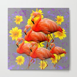 YELLOW FLOWERS  GREY ART DECO SAFFRON FLAMINGOS ART Metal Print