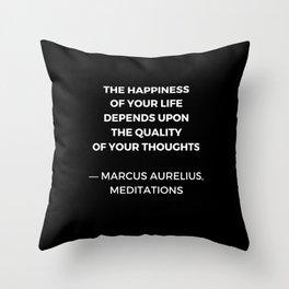 Stoic Wisdom Quotes - Marcus Aurelius Meditations - Happiness Throw Pillow