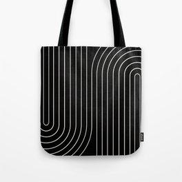 Minimal Line Curvature - Black and White II Tote Bag