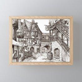 Medieval town ink Framed Mini Art Print