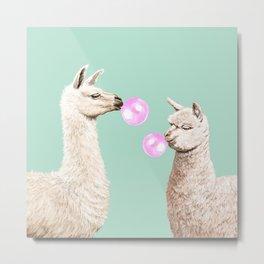 Llama and Alpaca Bubblegum Gang Metal Print