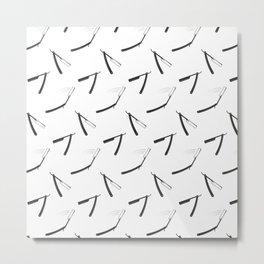Barbershop pattern with shaving razor Metal Print