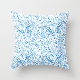 Mermaid Toile - Blue Throw Pillow