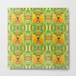 GOLDEN BUTTERFLY GREEN GARDEN ALOE CACTUS PATTERNS, Metal Print