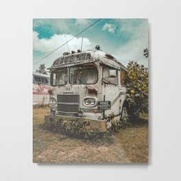 No Trespassing - Abandoned Bus Metal Print