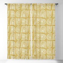 Handdrawn Rainbows in Mustard Yellow Blackout Curtain