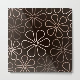 Abstract Flower Outlines Browns and Creams Metal Print