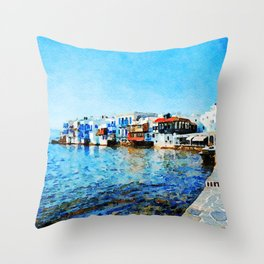 Little Venice at Mykonos Throw Pillow