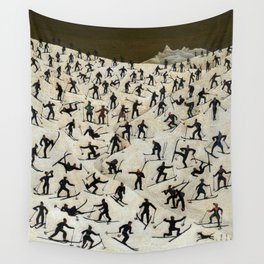 Skiers, Winter Slope Skiing Madness landscape painting by Franz Sedlacek Wall Tapestry