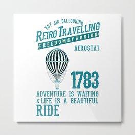 Retro Balloonist Hot Air Balloon Pilot Metal Print