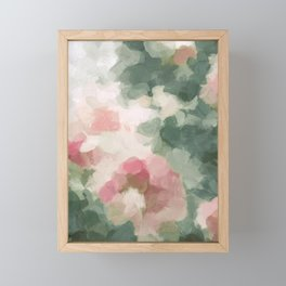 Forest Sage Green Fuchsia Pink Floral Rose Garden Abstract Flower Painting Art Print Wall Decor  Framed Mini Art Print