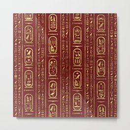 Egyptian hieroglyphs Gold on Red Leather Metal Print