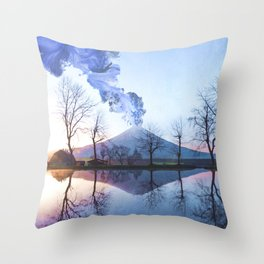 Mount Fuji Eruption-Mt. Fuji Japan-Abstract Japanese Nature Collage Throw Pillow