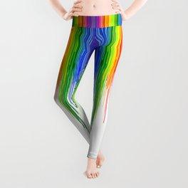 Rainbow Paint Drops on White Leggings