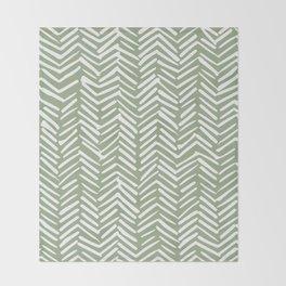 Boho Herringbone Pattern, Sage Green and White Throw Blanket