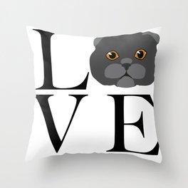 Love Scottish Fold Cats Throw Pillow