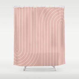 Minimal Line Curvature - Vintage Pink Shower Curtain