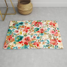 Red Turquoise Teal Floral Watercolor Rug
