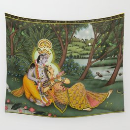 Indian Masterpiece: Radha Krishna in the garden by the stream with lotus flowers landscape painting Wall Tapestry
