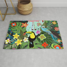 Parrots, Toucan and Flamingo Tropical Birds Tropical Forest Pattern Rug