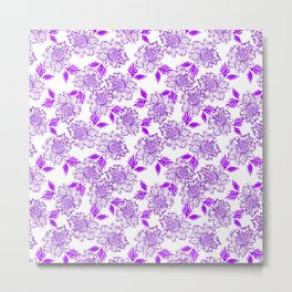 Delicate elegant classy feminine floral pattern. Purple blooming flowers, little leaves. Plants Metal Print