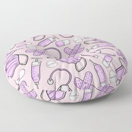 Pastel Medical Pattern - Doctor and Nurse Theme - on Pink Floor Pillow