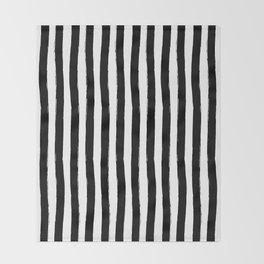 Black and White Cabana Stripes Palm Beach Preppy Throw Blanket