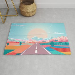 Summer Road trip to Rocky Mountains Adventures in Nature, car blue sky land airplane rural landscape Rug