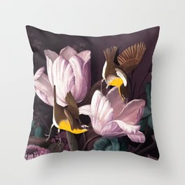 Yellow Birds Flying Pink Flowers Painting Throw Pillow