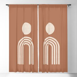 Mid century modern terracotta Blackout Curtain