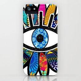 Greek Evil Eye Blue Flower iPhone Case