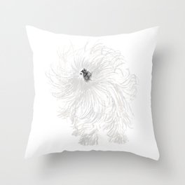 Drawing of a Wet Old English Sheep Dog Shaking Off Water Throw Pillow