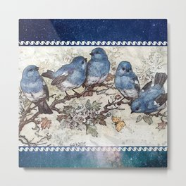 Vintage Blue Birds Metal Print