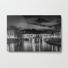 FLORENCE Ponte Vecchio at Sunset | Monochrome Metal Print