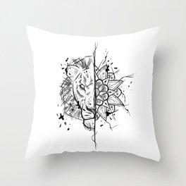 Lion Mandala Handmade Drawing, Made in pencil and ink, Tattoo Sketch, Tattoo Flash, Blackwork Throw Pillow