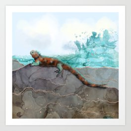 Marine Iguana on the Seashore - Galapagos Endangered Animal Art Print