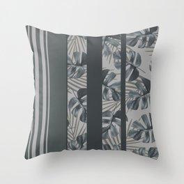 Silver Monstera Stripes Pattern Throw Pillow